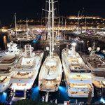 The Monaco Yacht Show by night